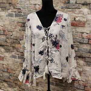 Floral lace up Boho inspired Blouse